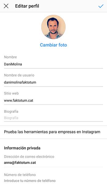 configurar compte Instagram Faktotum